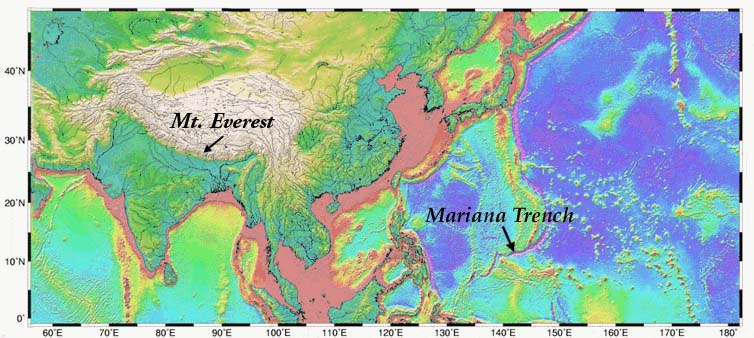 Virtual vacationland bathymetry map showing height of mt everest and depth of mariana trench gumiabroncs Image collections